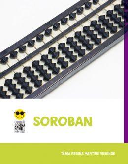"""Descrição da imagem: capa do livro """"Soroban"""" com a foto de um soroban na cor preta."""