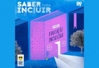 """Descrição da imagem: ilustração de um livro com portas e janelas na capa, além do título """"Episódio 5: Educação Inclusiva"""""""